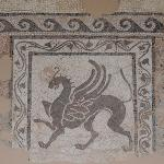 Part of mosaic with a griffin-lion
